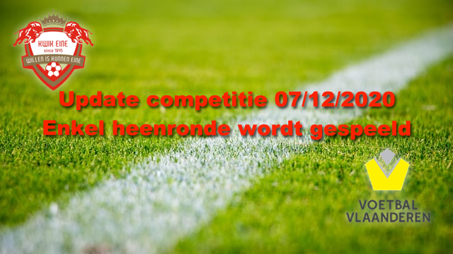 Update competitie 07-12-2020 --Enkel heenronde
